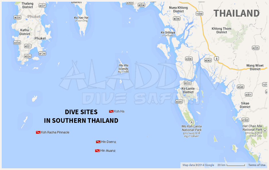 Map of the dive sites in Southern Thailand