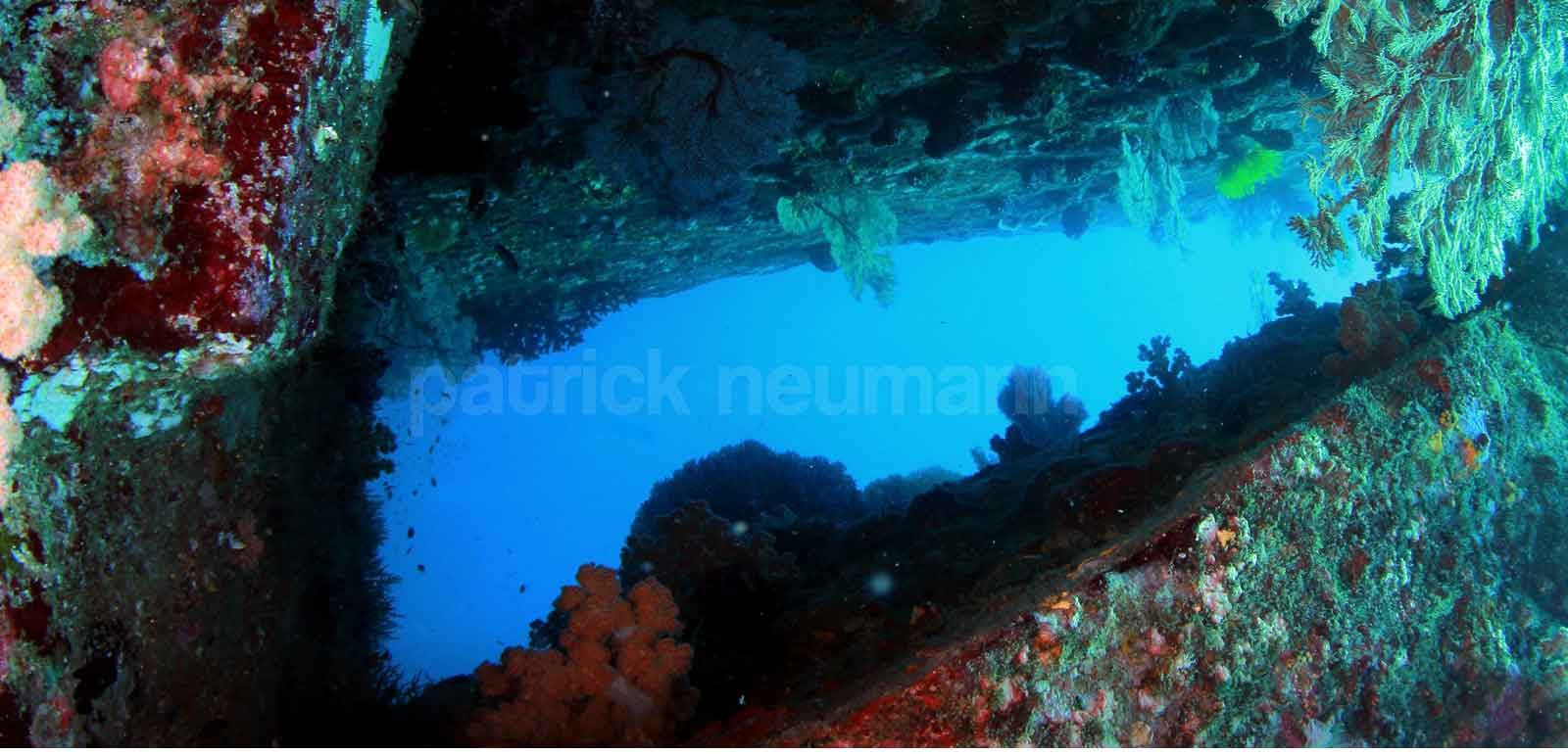 View of an underwater cave while diving in Burma